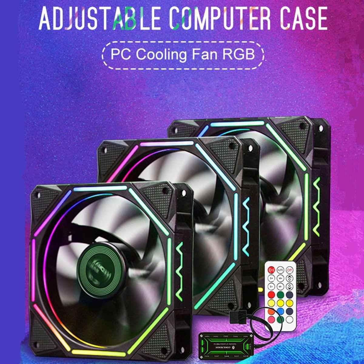 Carcasa de ordenador de 6 pines, ventilador de refrigeración de PC LED ajustable RGB, 120mm, Control remoto por infrarrojos silencioso, refrigerador de computadora, ventilador de refrigeración, ventilador con cubierta CPU