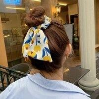 new chiffon bowknot elastic hair bands women girls scrunchies headband hair ties ponytail holder hair accessorie tulips ribbon