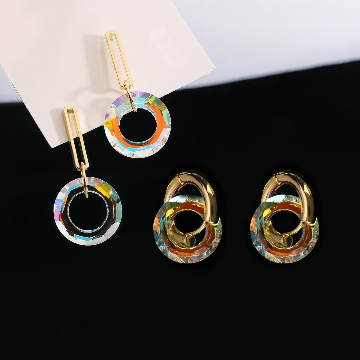 AliExpress - AMORCOME Korean Transparent Colorful Crystal Hoop Earrings for Women Girl Golden Metal Geometric Round Earrings Trendy Jewelry