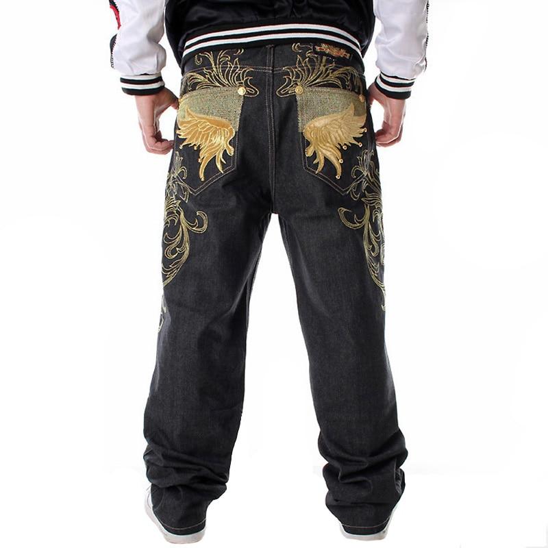 Черные мешковатые джинсы, мужские свободные джинсы с широкими штанинами, Мужские штаны с вышивкой, для скейтбординга, хип-хоп размера плюс ...