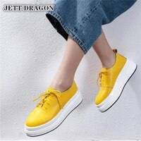 jett dragon spring quality genuine leather woemn flats cross tied platfrom casual sports shoes woman comfortable women sneakers