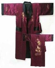 Bordeaux réversible deux-face chinois hommes soie Satin Robe Kimono broderie Robe de bain Dragon S0003