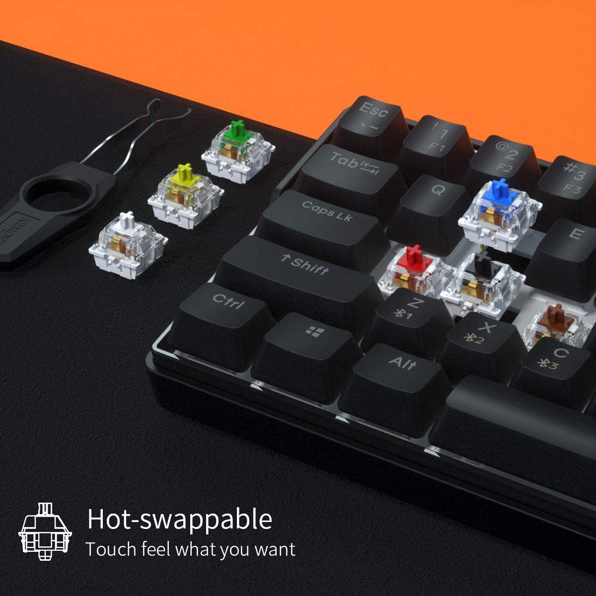 KEMOVE-لوحة مفاتيح ميكانيكية مع 61 مفتاحًا ، مفتاح 60% NKRO ، بلوتوث ، PBT ، لاسلكي ، سلكي ، للألعاب ، الكمبيوتر اللوحي ، DK61