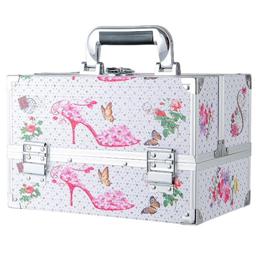 Portable Cosmetic Box Travel Bags Extendable Makeup Train Case Makeup Storage Brush Holder Makeup Organizer Beauty Suitcase Bag
