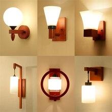 خشب متين الأحمر فانوس الزجاج جدار مصابيح الصينية المعيشة غرفة نوم السرير أضواء الجدار Waystairs العتيقة دراسة ديكو تركيبات