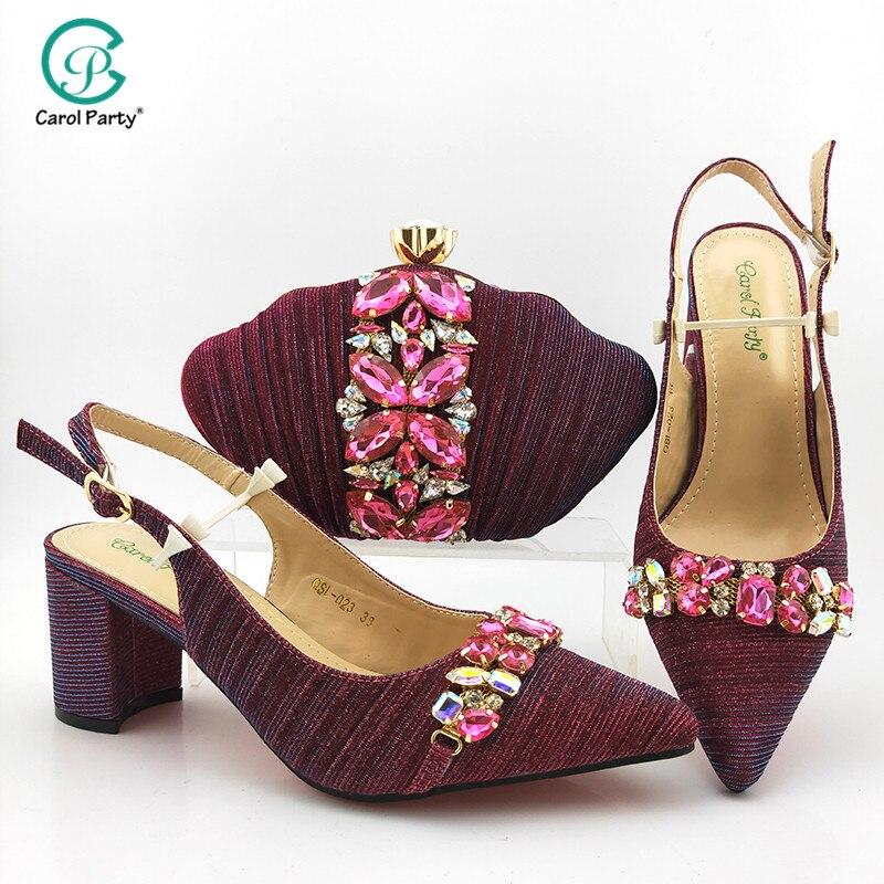 Zapatos de diseño italiano a la última moda y bolso a juego para fiesta de Nigeria zapatos de boda estilo africano y bolsa en Color Magenta
