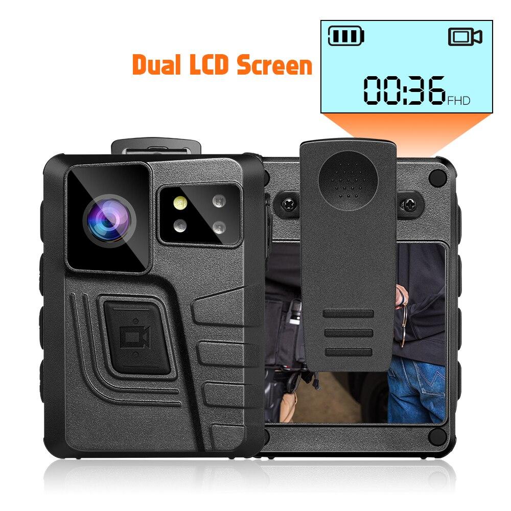 Cámara corporal BOBLOV M852 con doble pantalla, cámara montada en el cuerpo, GPS, 1296P, cámara policial, 10 horas de visión nocturna, cámara de aplicación de la ley