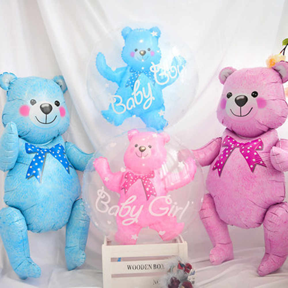 Gran 3D oso de peluche globos feliz bailes, cumpleaños niños inflables juguetes de bebé chica ducha de boda fiesta suministros juguetes clásicos