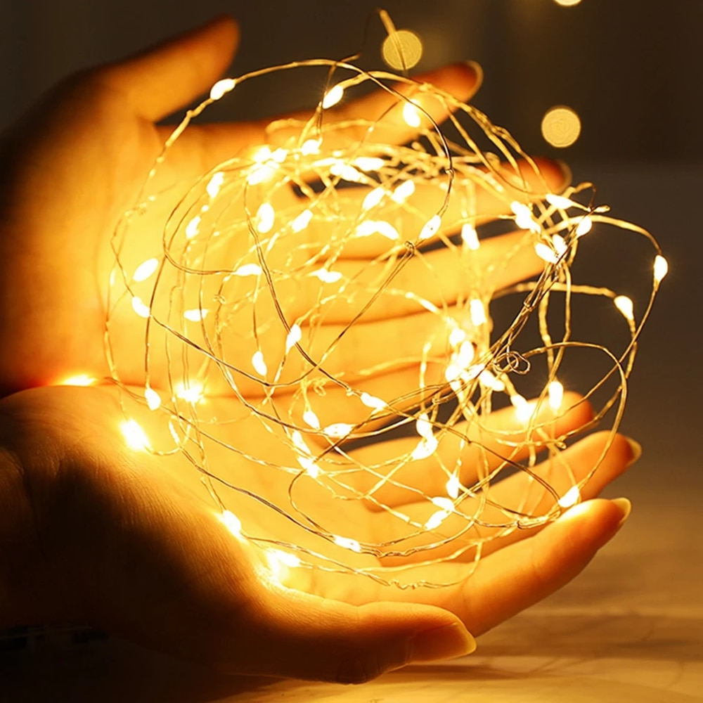 1-10M LED String Lights Copper Wire Fairy Lights Night Light For Christmas Garland Room Bedroom Indoor Wedding Decoration Lamp