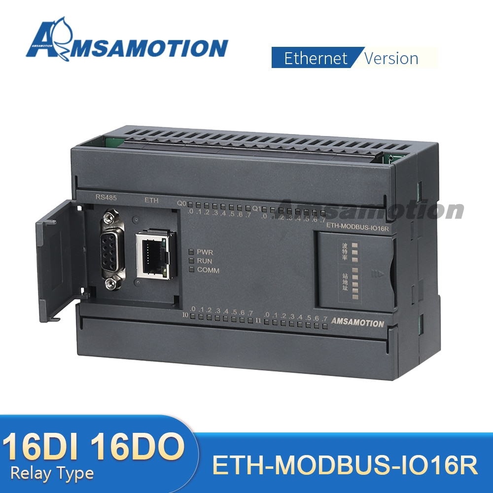 ETH-MODBUS-IO16R RTU-بروتوكول RS485 PLC ، وحدة قابلة للتمديد ، 16 قناة إخراج ، مرحل نوع رقمي وتناظري 2AI-1AO