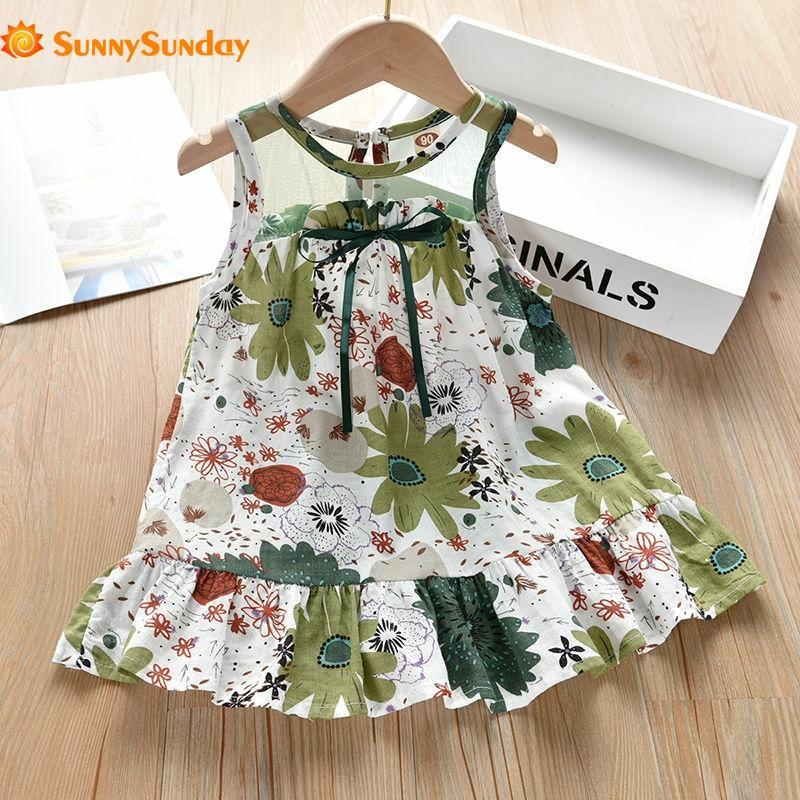 Летнее платье без рукавов для девочек, хлопковое шелковое платье принцессы, пляжное платье, ТРАПЕЦИЕВИДНОЕ ПЛАТЬЕ, удобная детская одежда