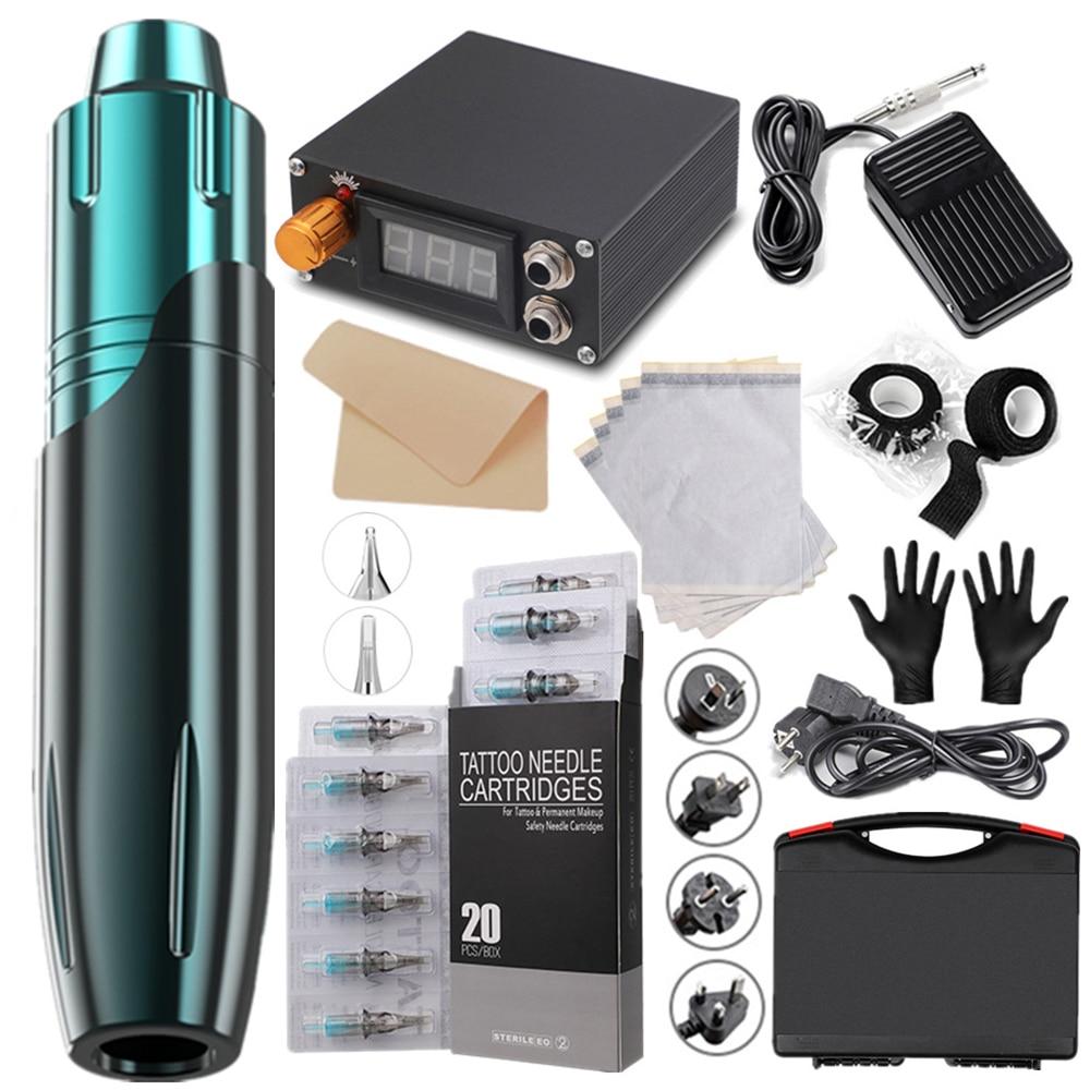 نمط جديد قلم الوشم آلة موتور المهنية ماكينة رسم الوشم التجميلي الكل في واحد الوشم المعدات