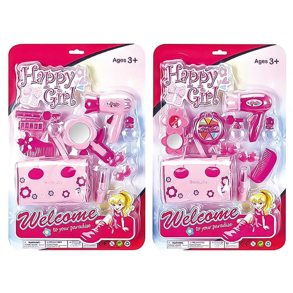 Juguetes de maquillaje de Casa de juego para niñas, secador de pelo para niños, zapatos de cristal, simulación de salón de belleza, Juguetes