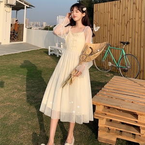 Cutout Long-Sleeved Dress Women's Autumn  French Square Collar Lace Frog Mesh kawaii clothing sweet lolita dress renaissance