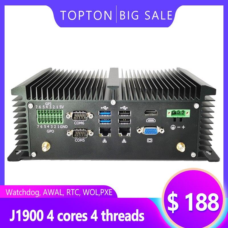 Mini PC sin ventilador PC de escritorio Mini Industrial computadora Intel J1900 procesador 6*6 * RS232 COM 2 * Lan 8 * USB GPIO LPT PS/2 HDMI VGA 4G WiFi