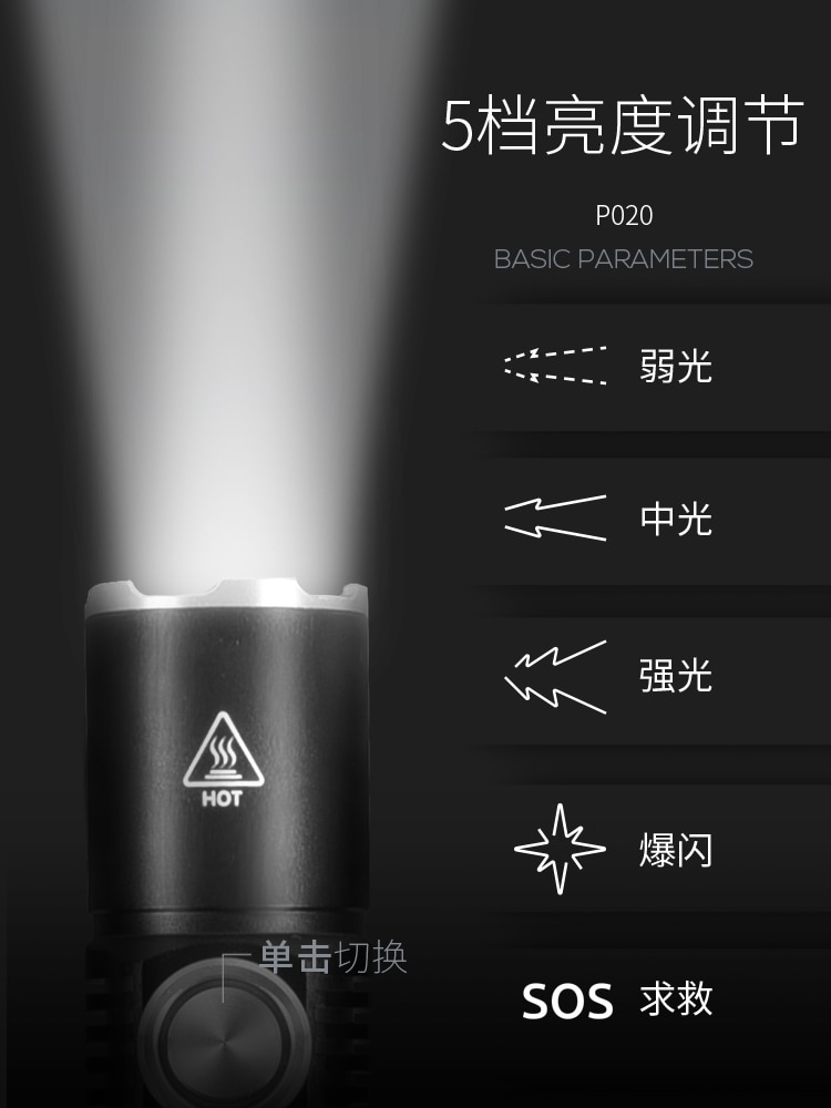 Bright Flashlight Outdoor Rechargeable Portable Waterproof Torch Camping Mini Black Self Defense Lanterna Home Lighting EB50SD enlarge