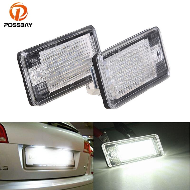 POSSBAY 1 par de automóviles coche 18 LED para placa de matrícula de luz para Audi A3 S3 A4 S4 B6 B7 A6 accesorios de coche