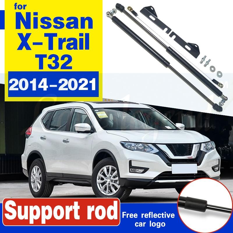 Car Bonent Hood Gas Shock Strut Bars Lift Support Rod No Welding/Drilling Accessories For Nissan X-Trail Rogue 2014-2021 T32