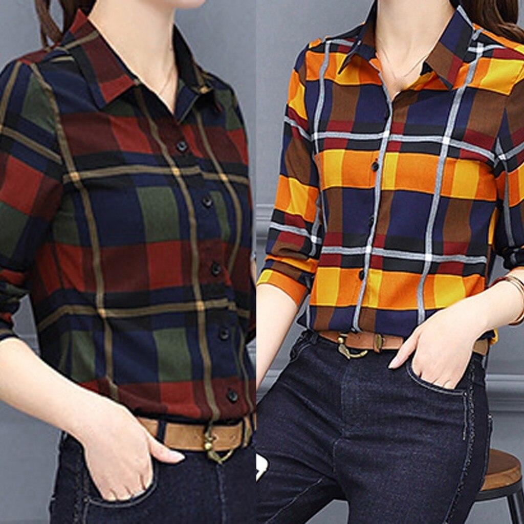 Mulher turn-down colarinho blusas tartan xadrez flanela blusa rolar até manga casual escritório topos botão para baixo blusa camisas mujer #45