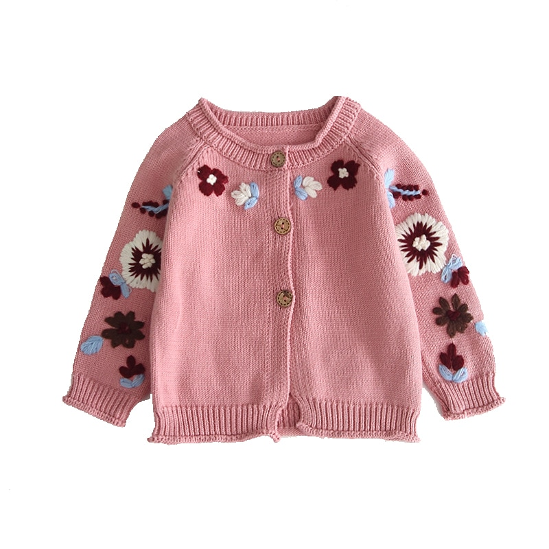 1 set 0-2 Years Old  Embroidered Crochet Cardigan Button Sweater Baby Girl Sweater Top