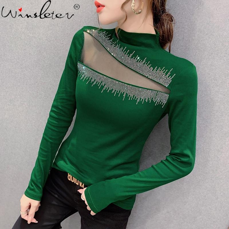 Printemps automne vêtements européens T-Shirt Chic Sexy Patchwork maille brillant diamants hauts Ropa Mujer coton chemise de fond t-shirts T00904A