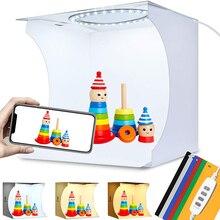 Mini boîte à lumière à anneaux 64 led   Pliable Portable, boîte de Studio Photo, boîte à lumière pour photographie, Kit de tente pour prise de vue avec 6 arrière-plans