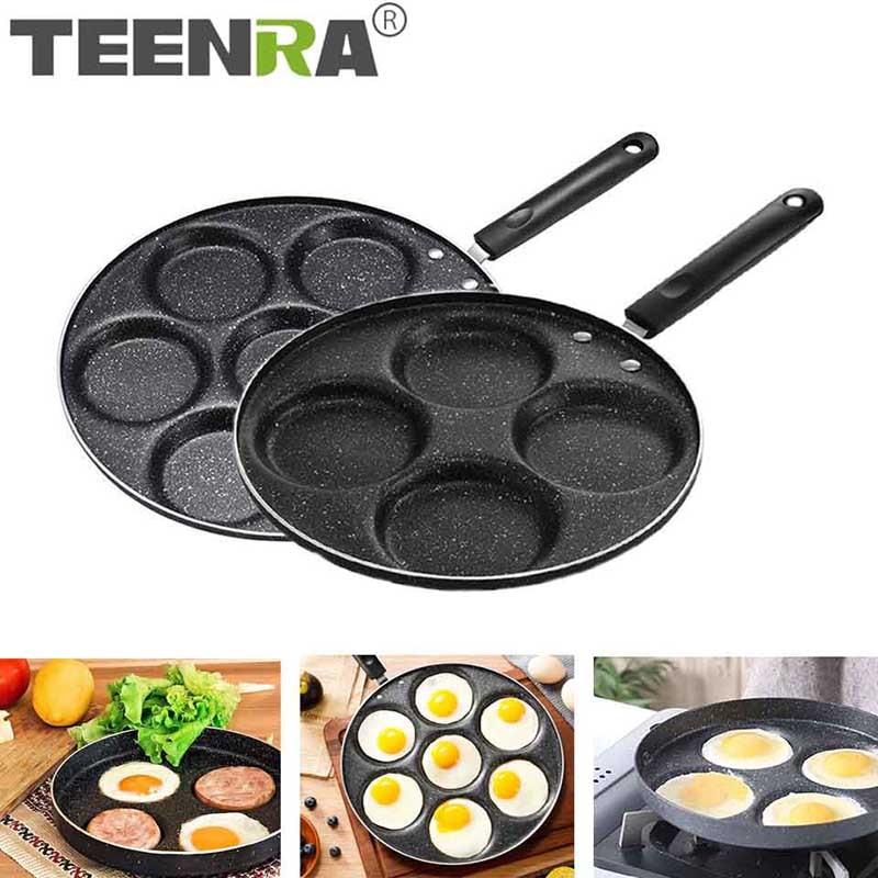 aliexpress.com - TEENRA Four-hole Frying Pot Thickened Omelet Pan Non-stick Egg Pancake Steak Pan Cooking Egg Ham Pans Breakfast Maker