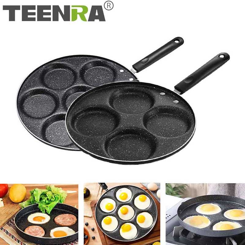 TEENRA Four-hole Frying Pot Thickened Omelet Pan Non-stick Egg Pancake Steak Pan Cooking Egg Ham Pans Breakfast Maker