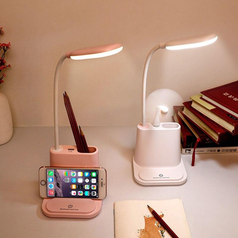 2 اللون LED لمبة مكتب USB مصباح منضدة قابل للشحن اللمس يعتم القراءة مصباح للأطفال الاطفال القراءة دراسة السرير غرفة نوم