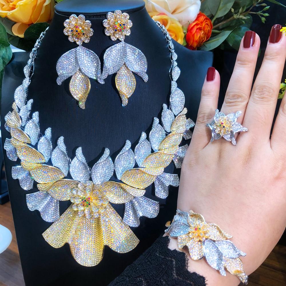 Soramoore العصرية الفاخرة رائع الكبير قلادة أقراط الإسورة خاتم مجموعة للنساء السيدات فتاة هدية الزفاف مجوهرات الزفاف مجموعات