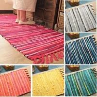 boho hand woven rugs absorbent carpet bohemian style tassel mats anti slip pads bedside porch kitchen bathroom floor cushion