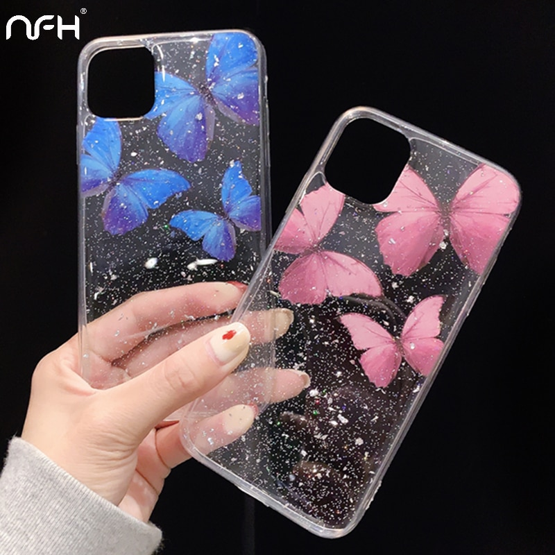 Funda de teléfono de silicona de mariposa de lujo para iPhone 11 Pro Max SE 2 funda transparente suave con purpurina en iPhoen XR XS Max 6 6S 7 8 Plus