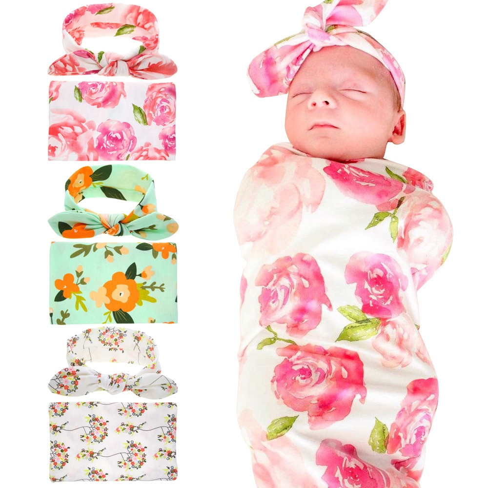 Baby Wrap Swaddling Printing Wrap Blanket Headband Sets for Boys Girls Receiving Blanket Breathable Lightweight Newborn Nursery