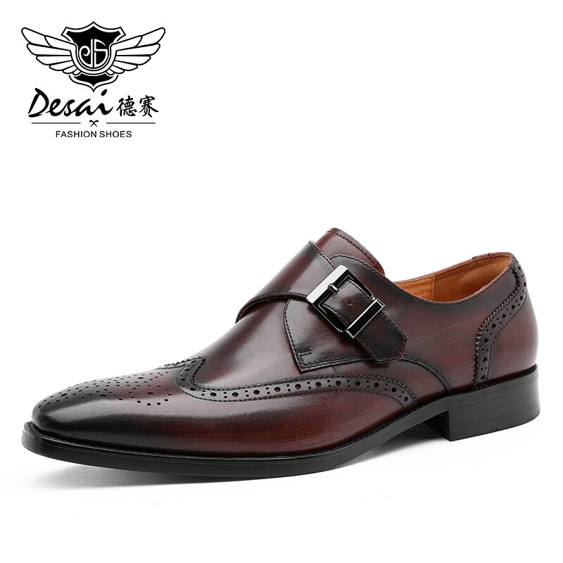 DESAI جلد طبيعي الرجال أحذية الزفاف الراهب الرسمي الرسمي عالية الكعب جودة الكلاسيكية اللباس 2020 الوافدين الجدد
