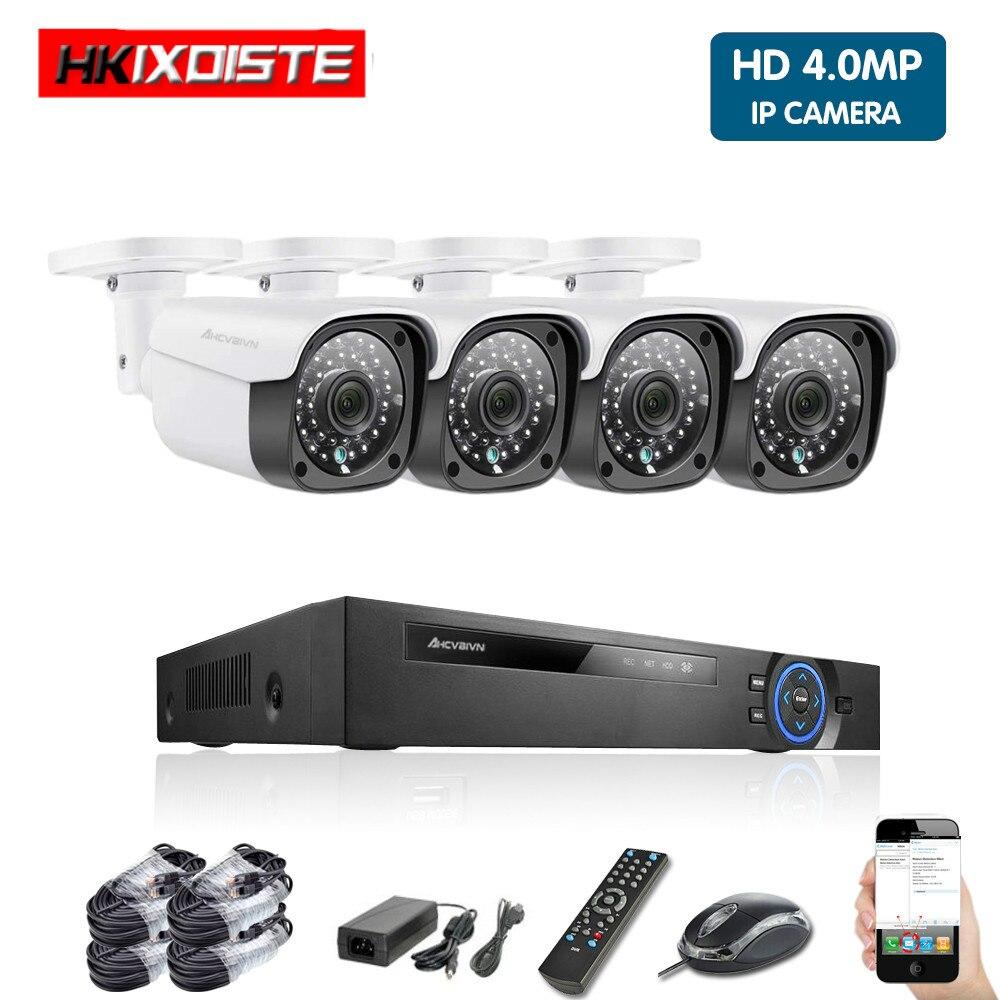 Kit de sistema de cámara Ip CCTV de seguridad para el hogar 4ch NVR vídeo de exterior cámaras de vigilancia Poe sistema de cámara de monitoreo impermeable completo