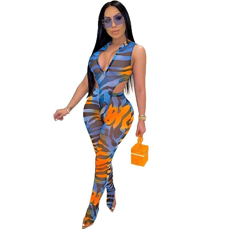 Estampado de cebra Sexy conjunto de dos piezas de malla traje con transparencias Top y Legging pantalones de verano ropa de 2 piezas trajes de Club conjuntos a juego