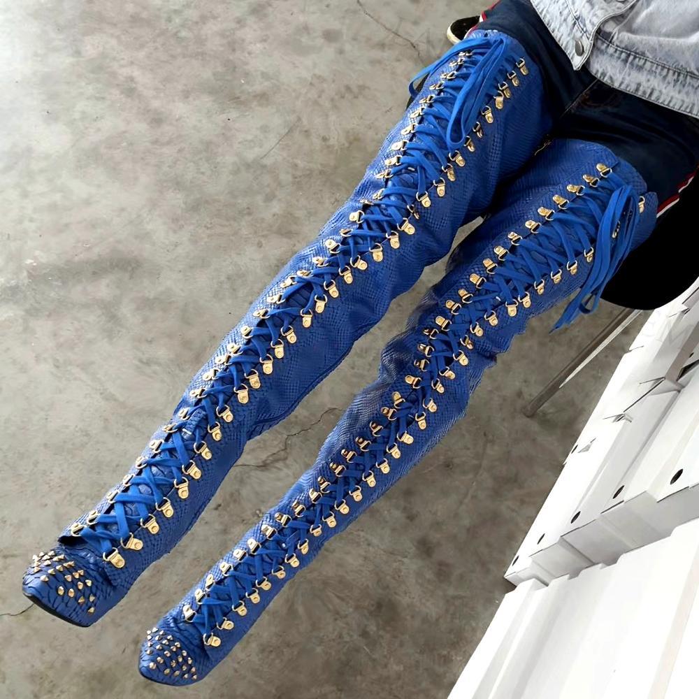 Berzerer-حذاء نسائي عالي الفخذ من جلد التمساح ، فوق الركبة ، برشام للحفلات ، مقاس كبير 44 47