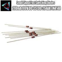 50 pièces 1N4148 petit Signal Diodes de commutation rapide Axial 200mA 100V DO-35 (DO-204AH) IN4148 1N en 4148 50 volts