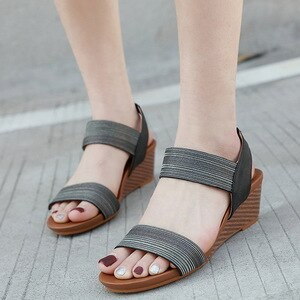 wedge sandals woman elastic band open toe women female summer beach platform 5.5cm high heeled travel big plus size 36-42 shoes