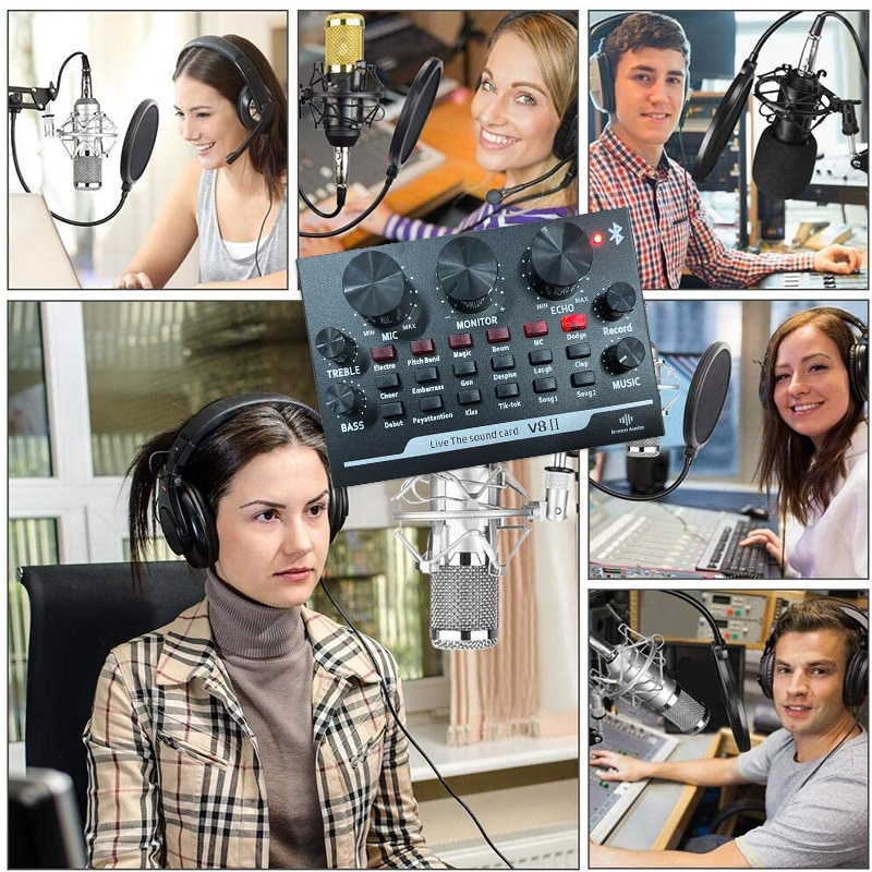 V8 Condenser Microphone Sound Card Mixer Audio DJ Professional Recording Game Live Broadcast Meeting Webcast Set KTV enlarge