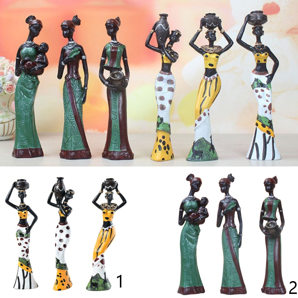Set African Female Figurines Crafts Statue Ornament Sculpture Decor  - buy with discount