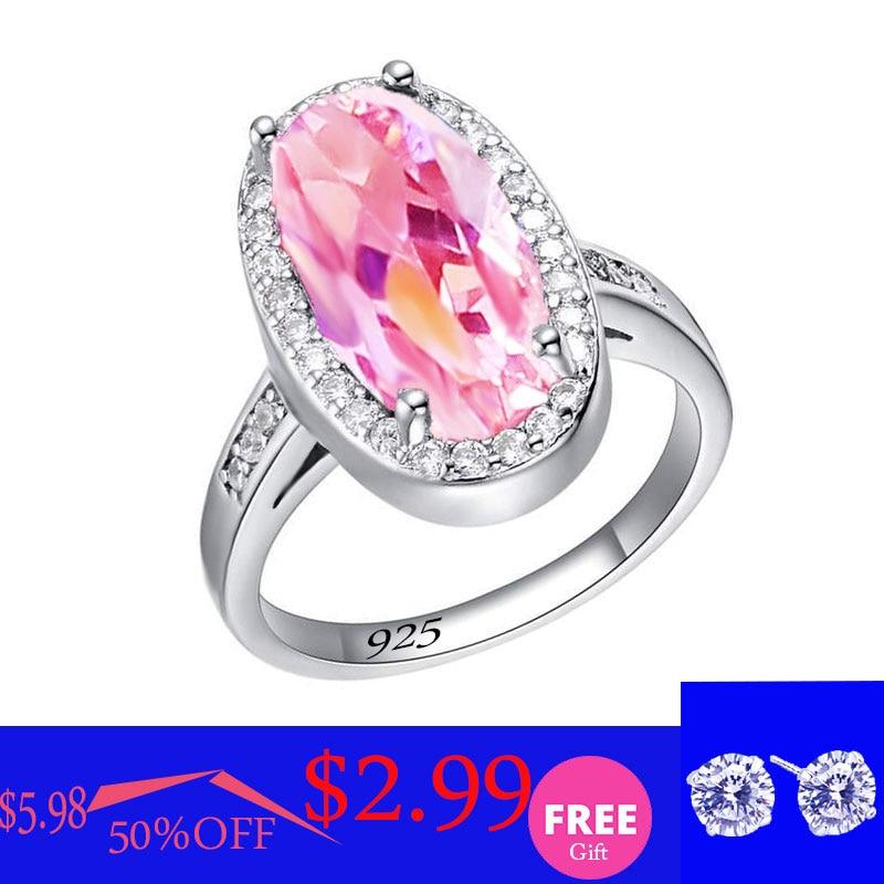 Rosa branco topázio prata 925 anel para as mulheres aniversário casamento jóias comprar um obter um presente gratuito