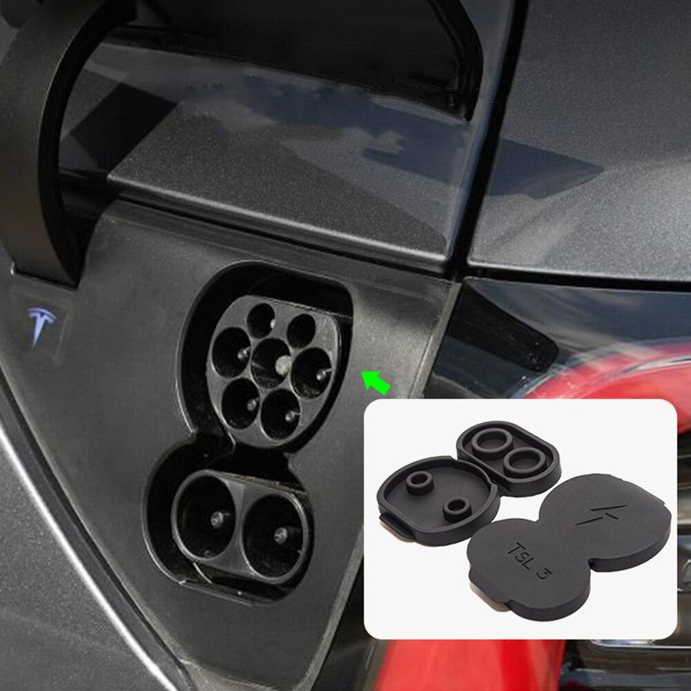 2 uds puerto de carga impermeable cubierta de polvo modificado para Tesla modelo 3 versión europea accesorios de decoración para Tesla Model3