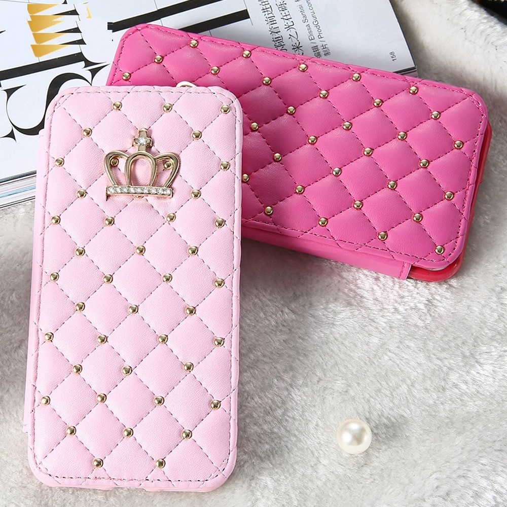LAPOPNUT Bling Fall für IPhone 11 Pro X 7 Xr Xs Max 8 Plus 6 6s 5 5S SE 2020 Brieftasche Crown Leder Flip Folding Diamant Abdeckung