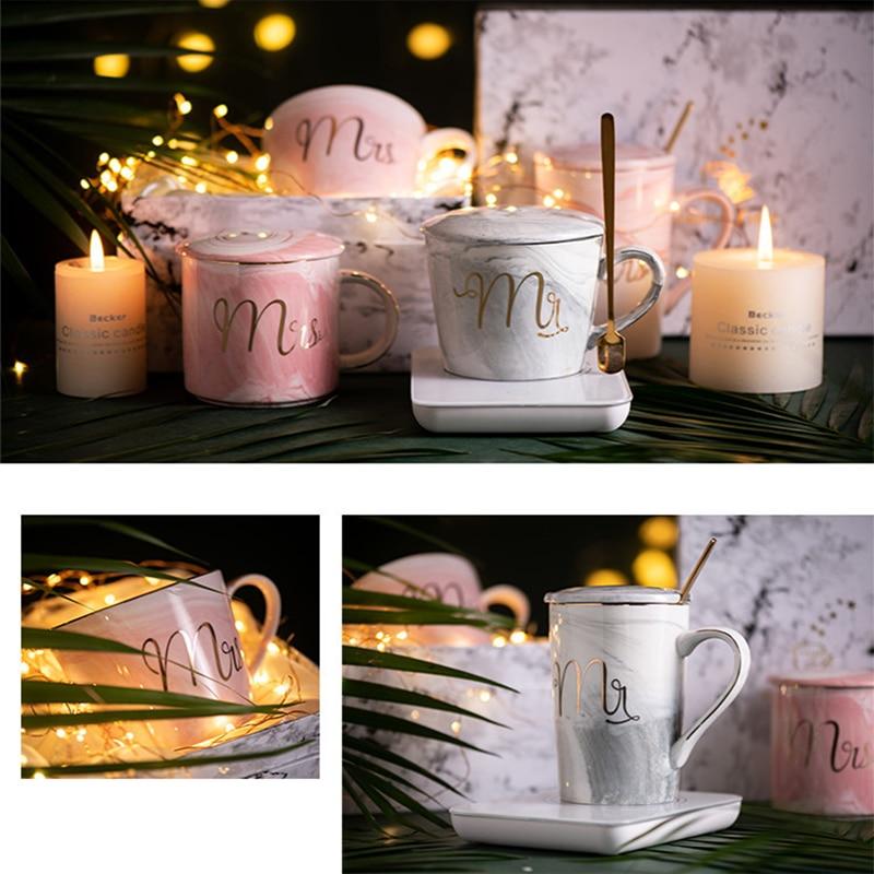 فاخر الرخام نمط السيراميك أكواب الذهب تصفيح السيدة السيد زوجين عاشق هدية الصباح القدح الحليب القهوة الشاي الإفطار الإبداعية كوب