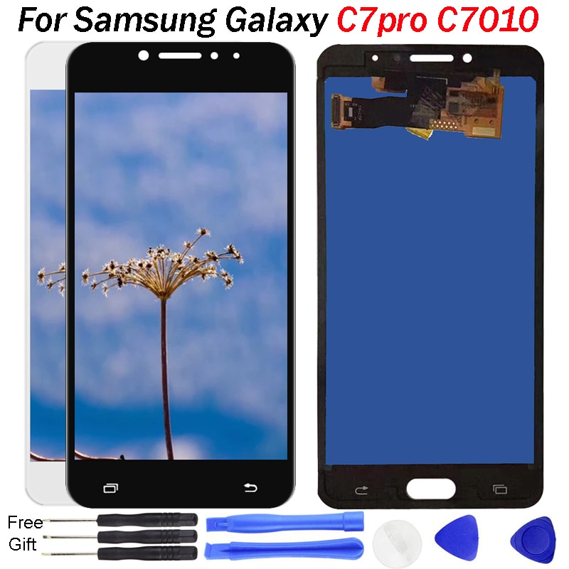 Testado LCD Para SAMSUNG Galaxy C7 Pro C7010 Disiplay LCD Touch Screen Display Substituição Digitador Assembléia Para C7 Pro C7010 LCD