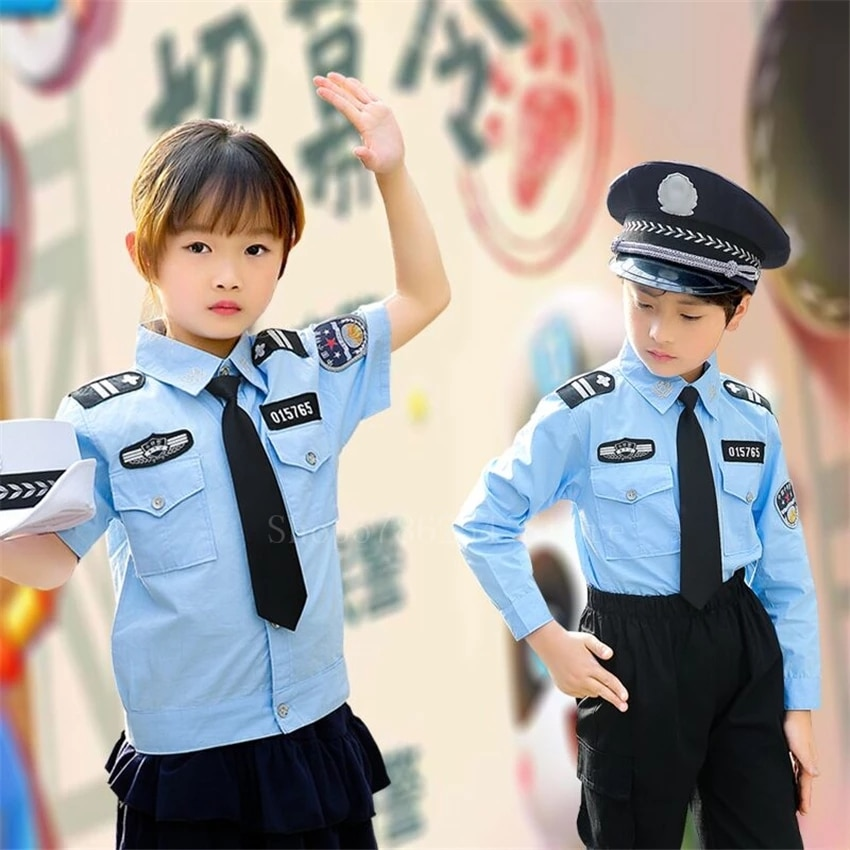 Tiny Cop Children's Day Role Play Officer Boy Girl Police Uniform Halloween Costume for Kids Anime Cosplay Policeman Fancy Party