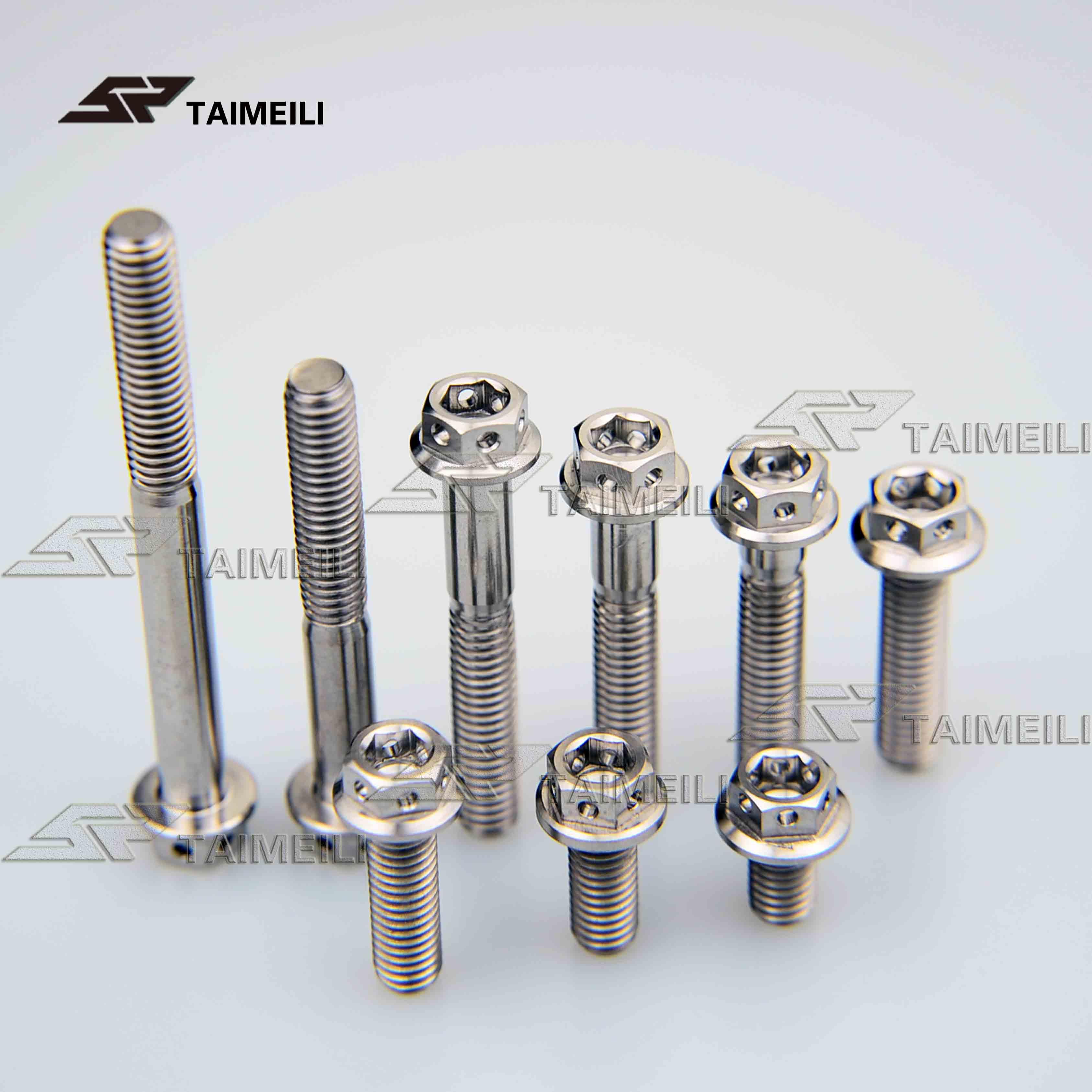 Tornillo de brida de aleación de titanio TAIMAILI plata hexagonal interior y exterior M6x/10/15/20/25/ tornillo de reparación de motocicleta de 30/35/45/50/60mm