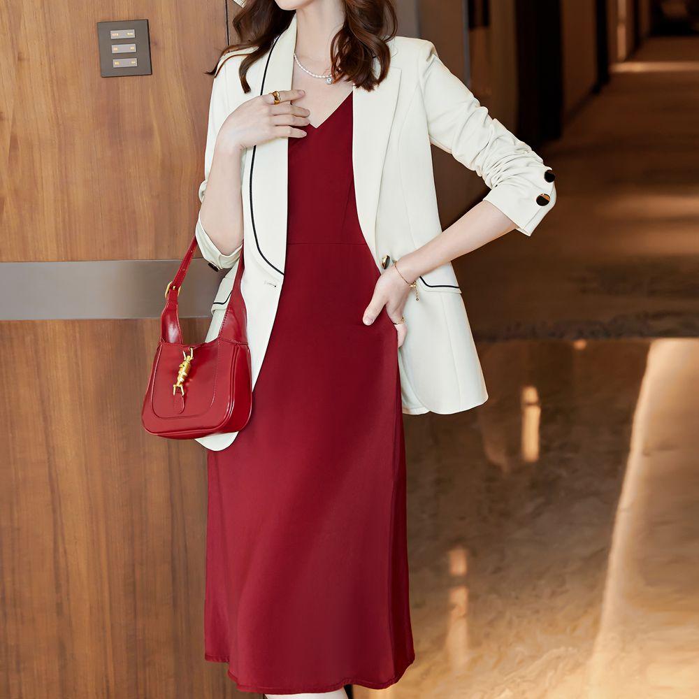 Korean fashion spring and autumn women's dress business dress work dress business suit women's oversized coat + dress 2pcs red