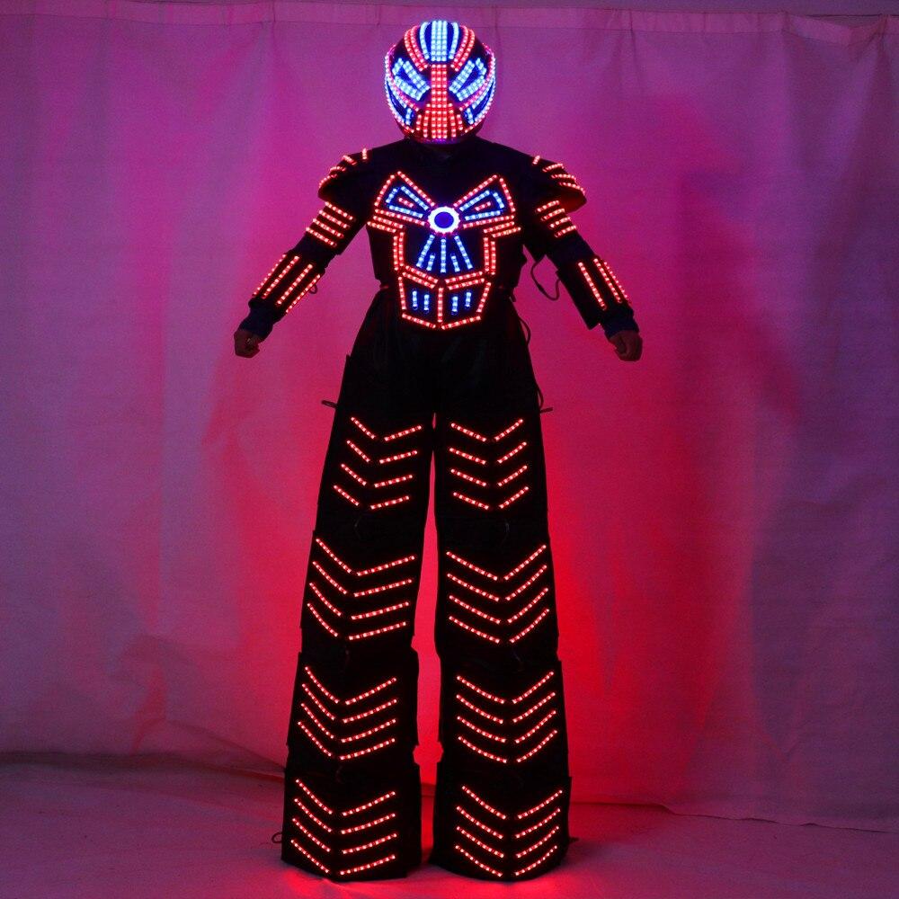 Traje de Robot LED Stilts Walker LED Light Robot Suit Clothing event kryoman costume led disfraz de robot